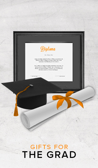 Picture of diploma frame, graduation hat with tassel and scroll. Click to shop gifts for the grad.