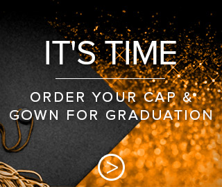 Picture of grad cap. It's time. Click to order your cap & gown for Graduation.