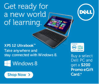 Picture of DELL laptop. Double Your Discount. Students - put more dreams within reach. For a limited time, double your student discount on DELL PCs and tablets. Offer valid 4/4 - 5/1/2013. Beautiful, fast, fluid Windows 8. Click to shop now.